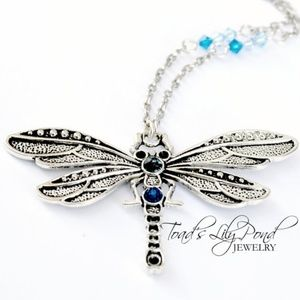 Blue dragonfly necklace with Swarovski crystal